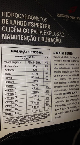 gel energético cafeína, taurina, d-ribose, glucoronolactona