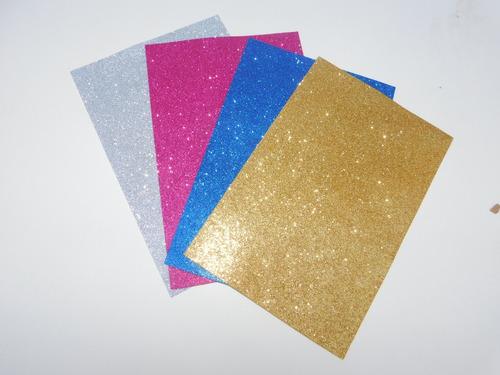 goma eva a4 brillantina pack x4 unidades colores variados