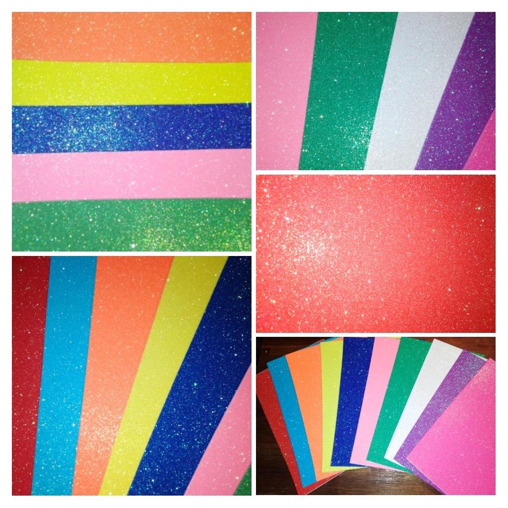 Goma Eva Brillantina Colores Pastel A4 Autoadhesiva