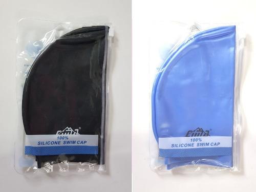 gorra de piscina con estuche negra, azul y blanca 3 + 1
