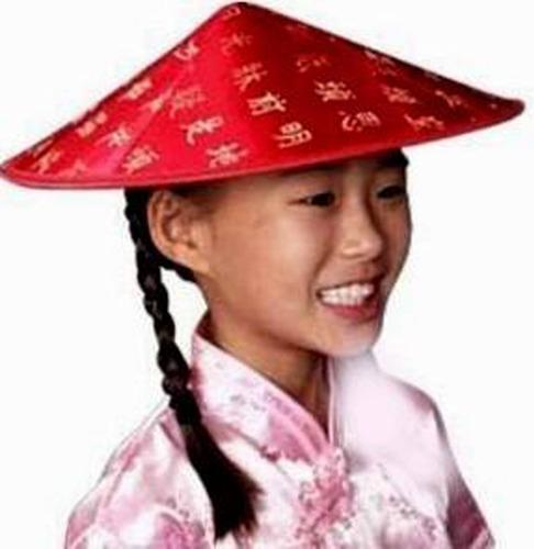 gorro chino rojo c/ trenza negra disfraz halloween