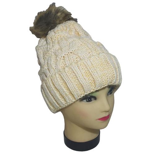 gorro de lana con pompon y piel veteados varios colores y di