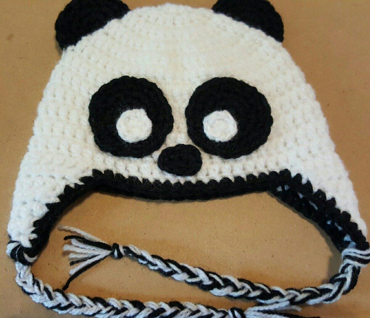 Gorro En Crochet De Oso Panda Para Bebé De 3 A 6 Meses. 40cm -   210 ... 902c0586930
