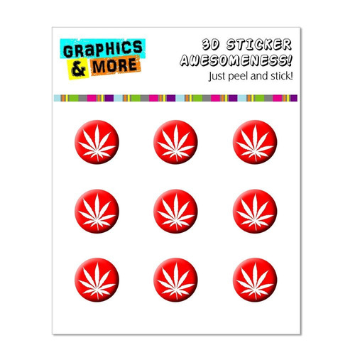 graphics and more marijuana leaf - red home button stickers