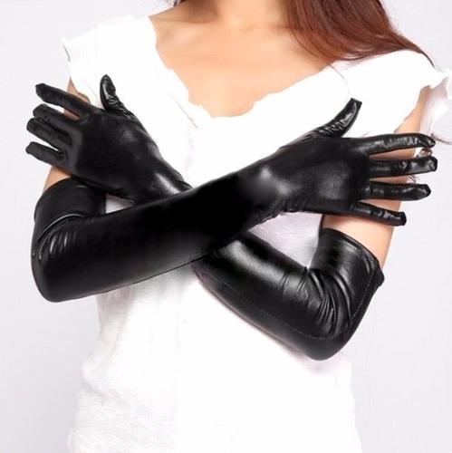 guantes de gatúbela largos negros, aspecto látex