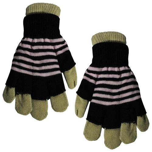 guantes mujer dobles c/dedo y sin dedo a rayas 6 colores - e