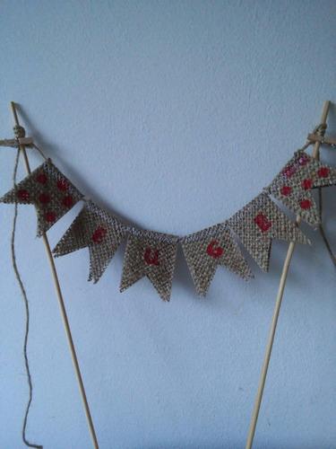 guia guirnalda mini banderines tela arpillera fiestas cumple