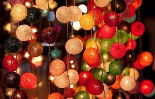 guirnalda 20 luces led d colores con bolas d hilo decoración