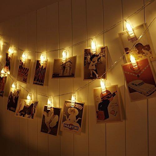 guirnalda 20 palillos para fotos luz led eventos decoración