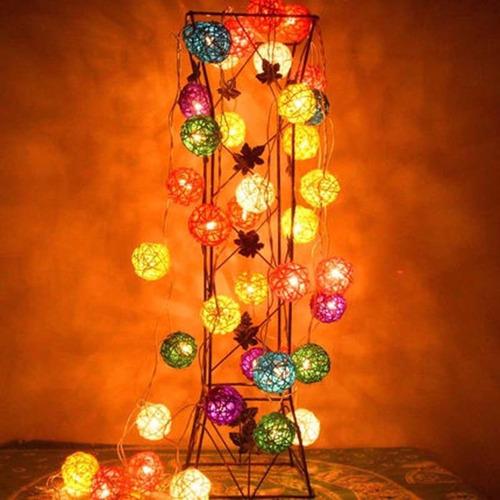 guirnalda de rattán, luces led- cotillón-fiestas-decoración