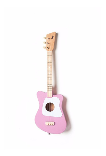 guitarra loog mini color rosado de 3 cuerdas