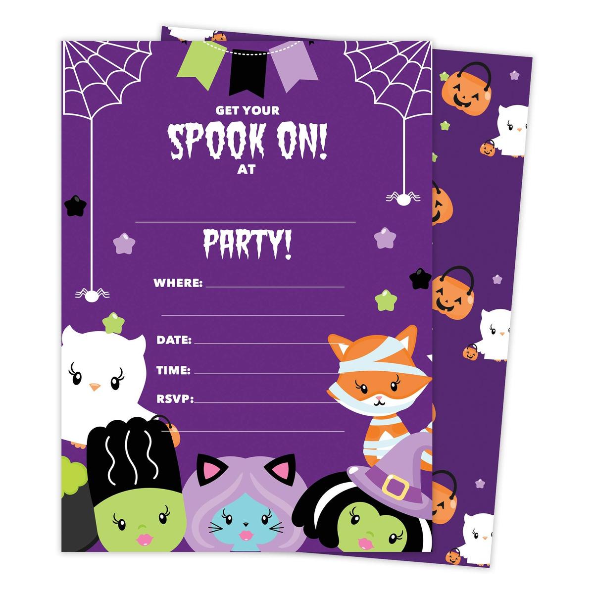 Halloween 2 Tarjetas De Invitación Para Cumpleaños Con