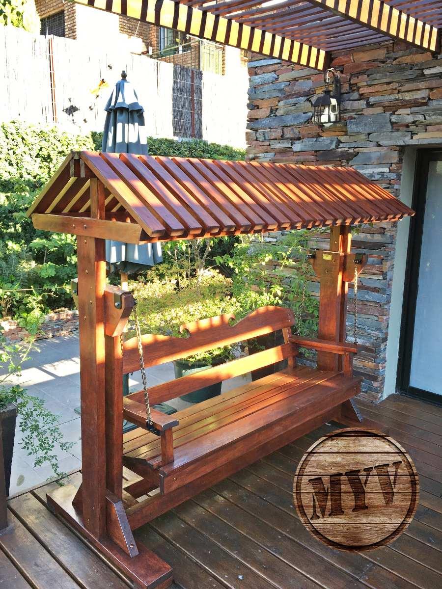 Hamacas con techo decoraci n jard n en madera para - Jardines decorados con madera ...