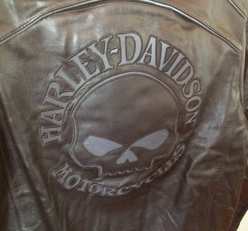harley davidson - jaqueta couro skull refletiva