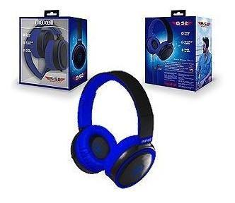 headphones maxell con mic gris azul sonido deep bass