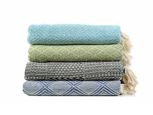 hermosa manta tejida 100% algodon de 70 x 130 cmts