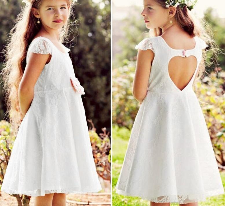 Hermoso Vestido Niña Encaje Y Espalda Corazón Tiara