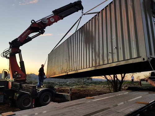 hidrogrua y chata  contenedores carga y transporte de barcos
