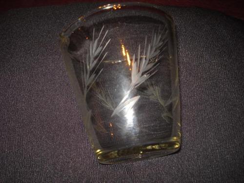 hielera en vidrio tallada al acido