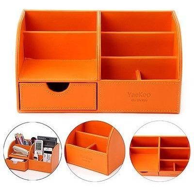 home office desk leather wood stationery cosmetic organizer