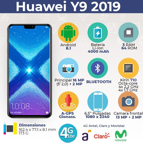 huawei y9 2019 64/3 4g octacore + funda + auriculares - bde