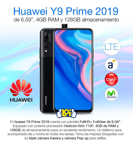 huawei y9 prime 2019 128gb oficial cámara pop-up selfie loi