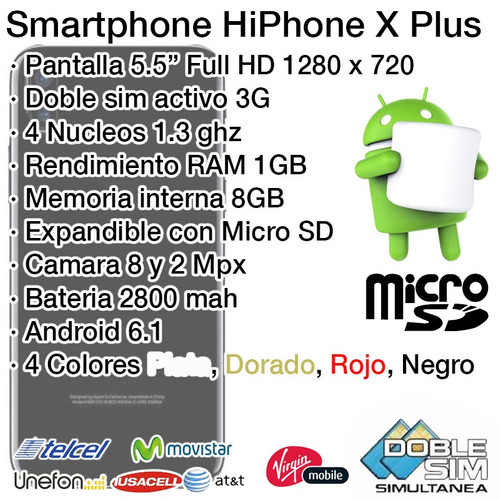 i8p hiphone x plus android quadcore doble chip micro sd 8mpx