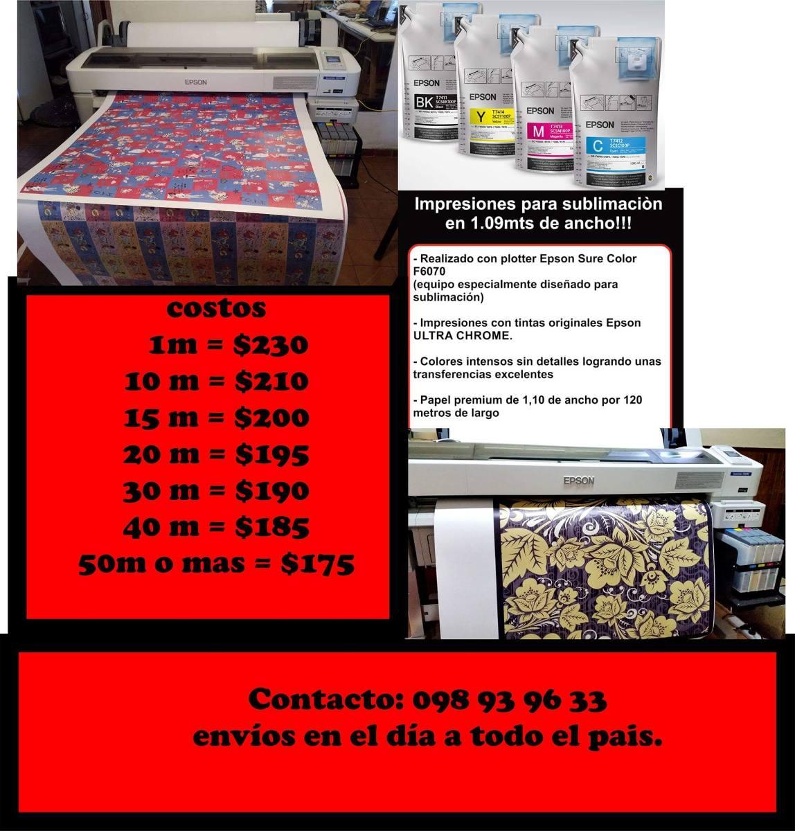 Impresion De Papel Para Sublimacion Por M2 - $ 175,00 en Mercado Libre