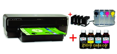 impressora hp 7110 adaptada bandeja 6 cd / dvd + 4 lt tinta