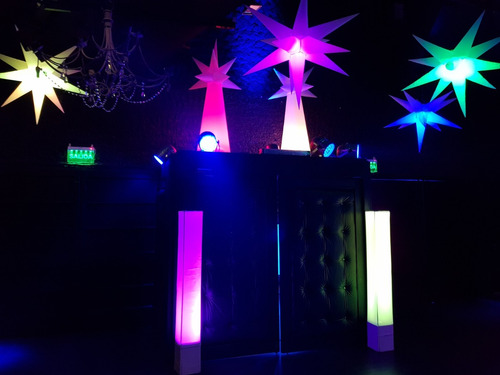 inflables led estrellas columnas puff lamparas mesas barra