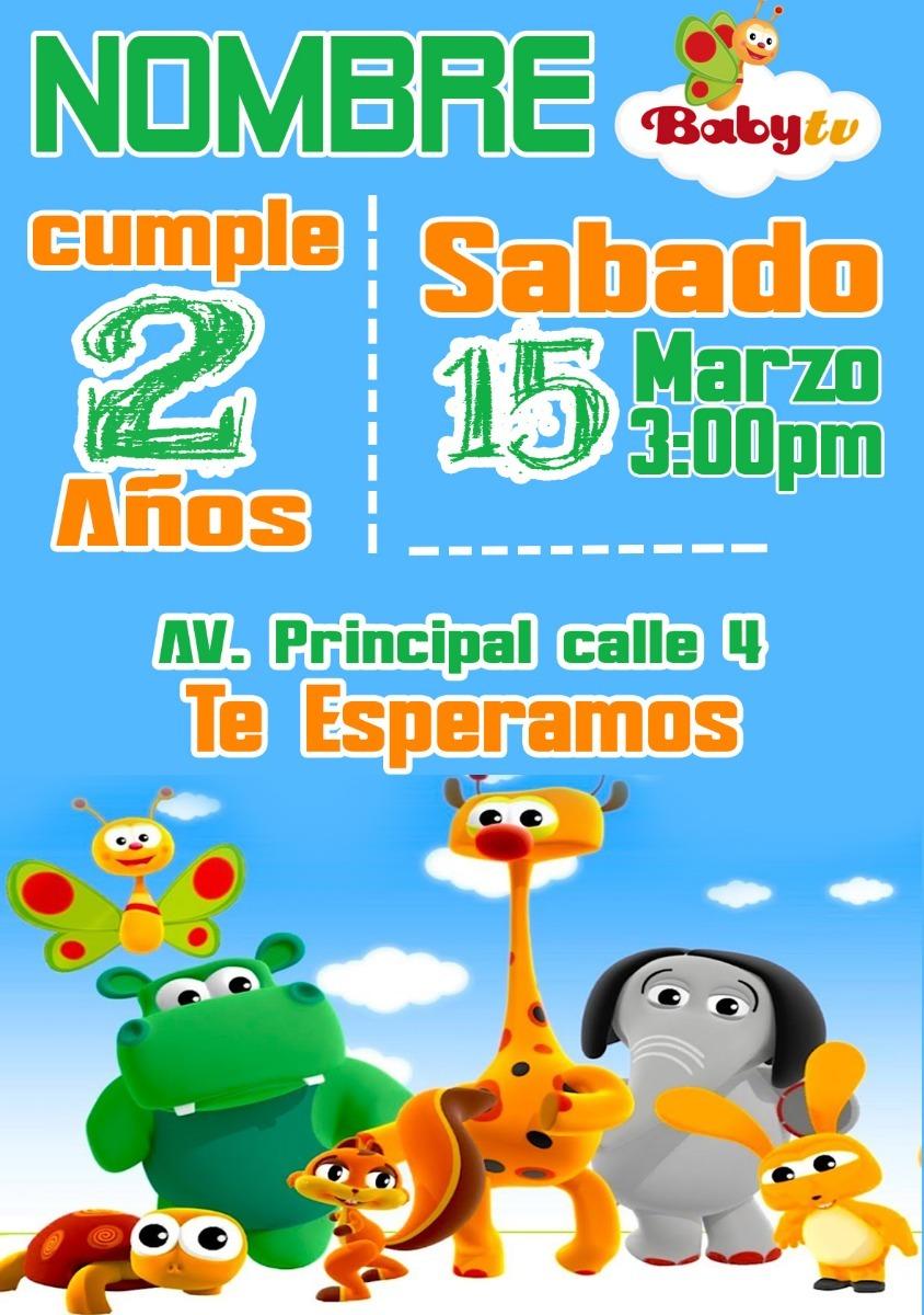Invitación De Cumpleaños Digital Baby Tv Parar Whatsaap
