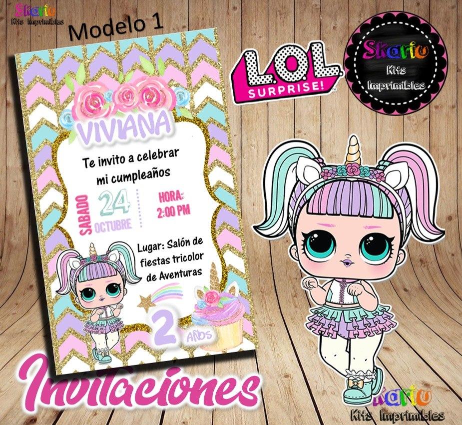 Invitación Digital Muñecas Lol Surprise Unicornio Mágico