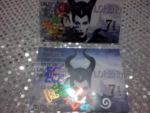 invitacion malefica con confetti metalico nueva!!
