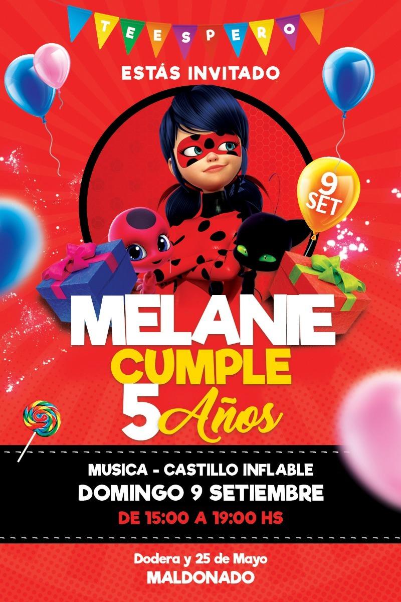 Invitacion Tarjeta Cumpleaños Digital Miraculous Ladybug