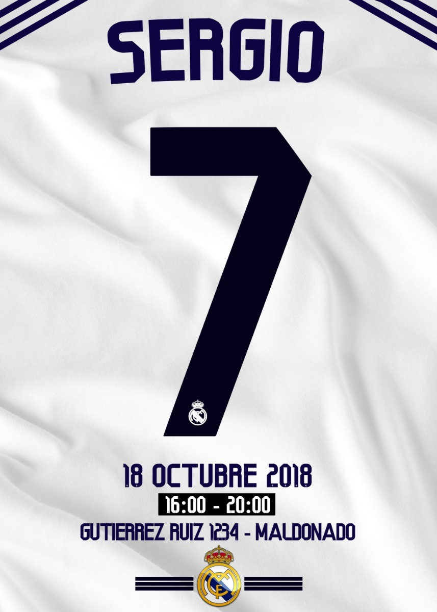 Invitacion Tarjeta Digital Cumpleaños Real Madrid Whatsapp