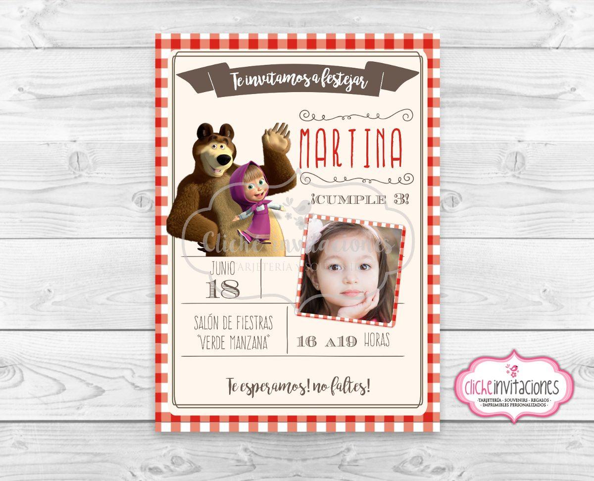 Invitacion Tarjeta Souvenir Imprimible Digital Masha Y Oso