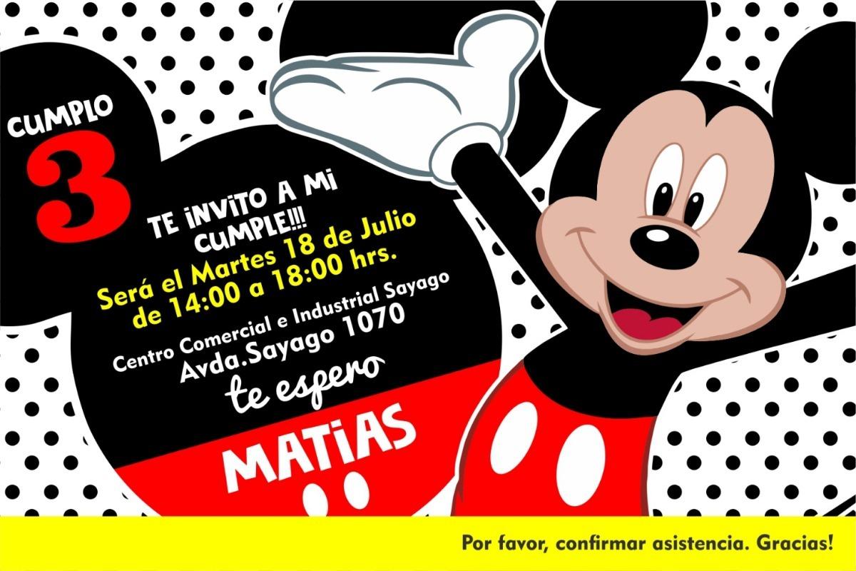 Invitaciones Cumpleaños Boda 15 Años B Shower Tarjeta Mickey