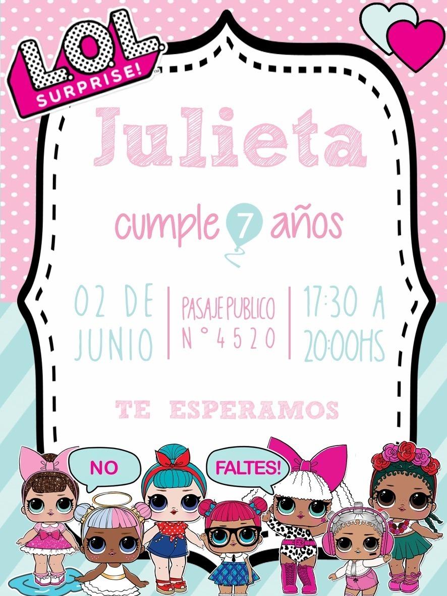 Invitaciones Digitales Lol Tarjetas Infantiles Cumpleaños