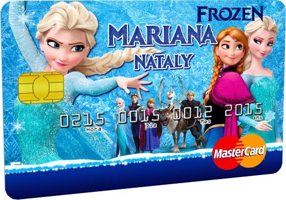 Invitaciones Frozen Tipo Tarjetas De Crédito Pvc 20