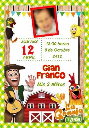 Invitaciones Granja De Zenon Cumple Tarjetas Novedad