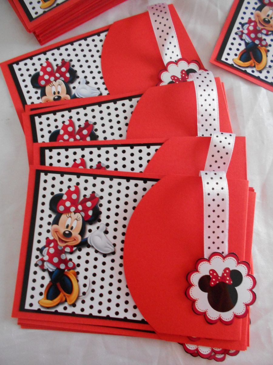 Invitaciones Infantiles Minnie Roja Rosada