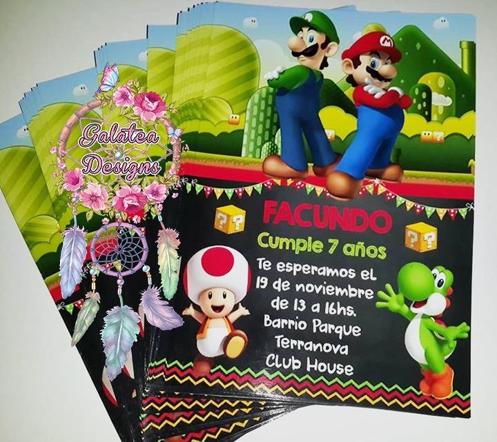 Invitaciones Mario Bros Pizarra Cumple Tarjetas Novedad