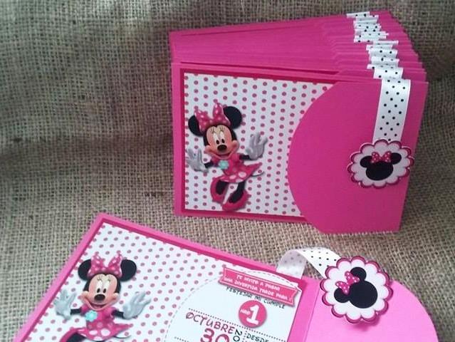 Invitaciones Minnie Rosada Roja Mickey