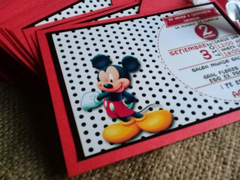 Invitaciones Tarjetas Mickey Mouse Primer Añito