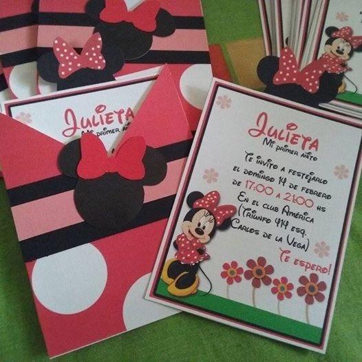 Invitaciones Tarjetas Minnie Rosa Minnie Roja Y Mickey