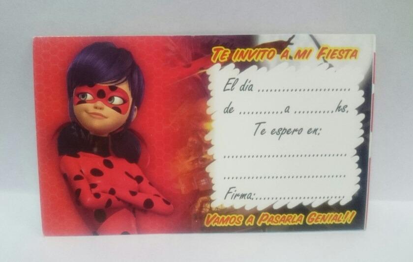 Invitaciones Tarjetitas Cumpleaños Ladybug
