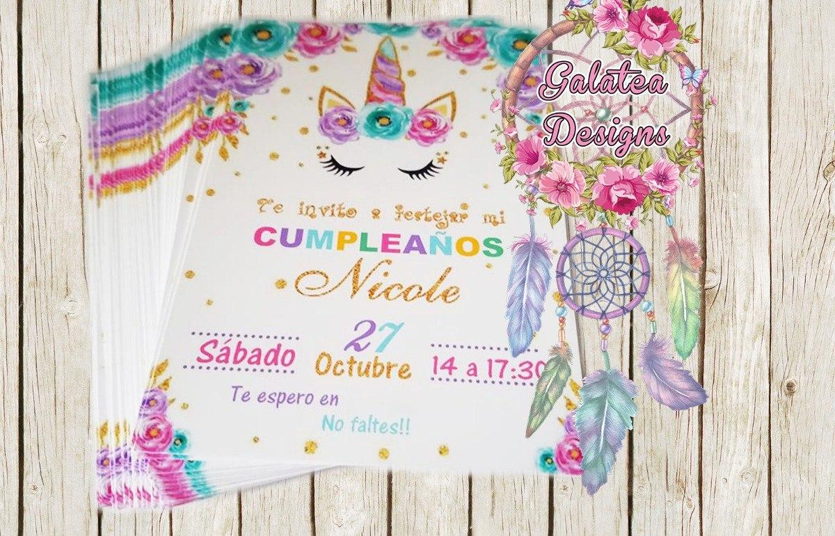 Invitaciones Unicornio Cumple Tarjetas Novedad