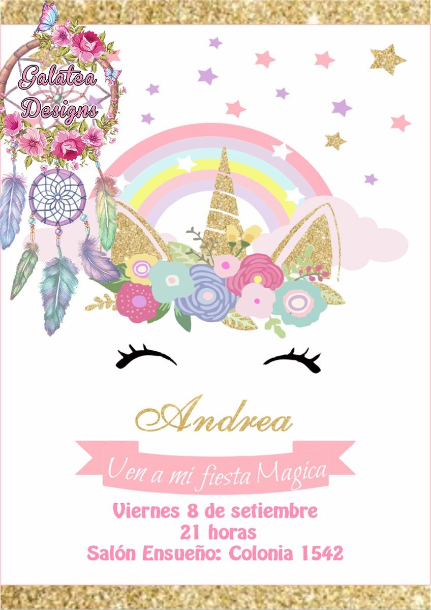 Invitaciones Unicornio, Cumple, Tarjetas Novedad $ 15,00 en Mercado Libre