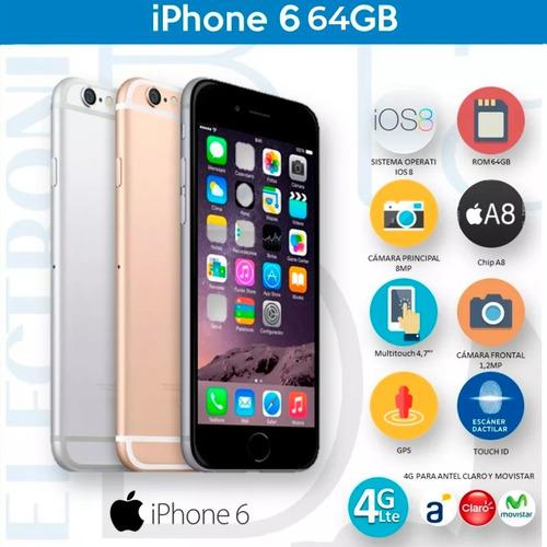 iphone 6 64 gb original 4g + vidrio templado de regalo