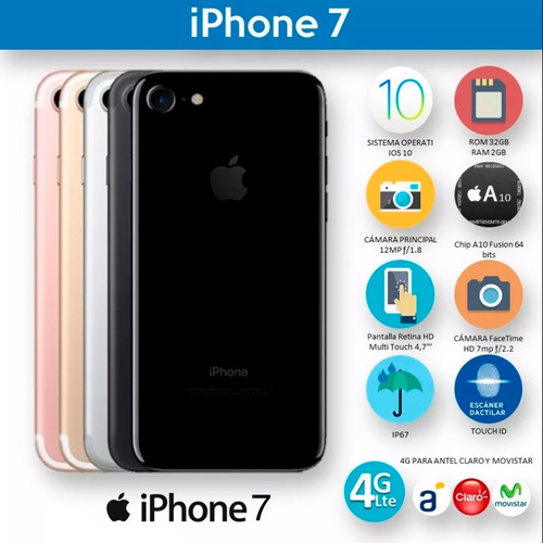 iphone 7 original 32gb garantia + auriculares inalambricos